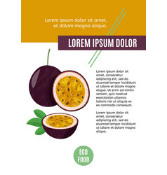 Whole passion fruit with slice isolated fresh vector
