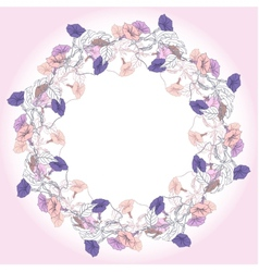 Wreath with violet and pink bindweed vector