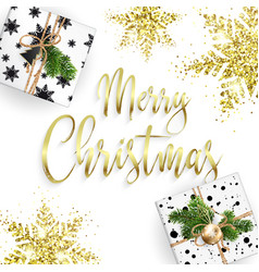 xmas card congratulations golden lettering vector image
