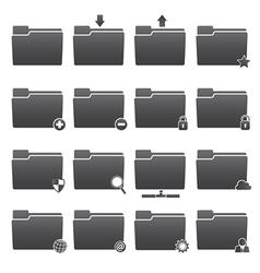 Basic Folder Icons Set vector image vector image