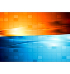 Blue and orange abstract tech design vector