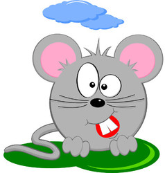 Cartoon Of Gray Fat Mouse vector image