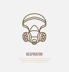 Gas mask respirator flat line icon logo vector