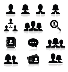 Man woman user icons set vector image vector image