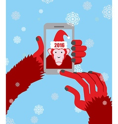 New year selfie monkey hooded santa claus makes a vector