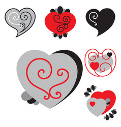 set of different shaped heart icons vector image vector image