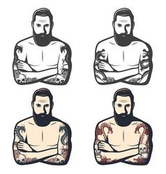vintage dragon tattoos set vector image