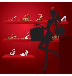 beautiful woman in shoe shop vector image