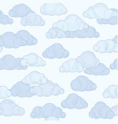 Cloud doodle line pattern cloudy sky seamless vector