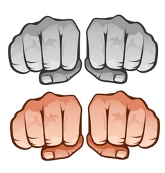 Human fist front four icons on white background vector image
