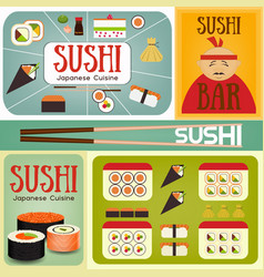 sushi bar posters set vector image