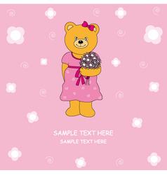 bear flower vector image vector image