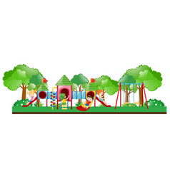 playground scene with kids playing vector image vector image