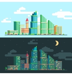 Set of wide panoramas the urban landscape vector image