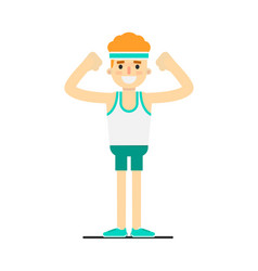sporty smiling boy in sportswear doing gymnastics vector image