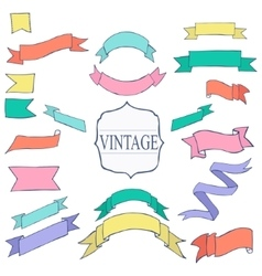 Vintage Color ribbon tape text placeholder vector image vector image