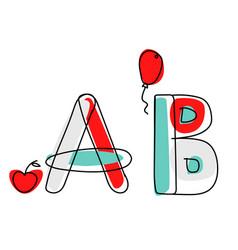 accendent fontchild alphabet with vector image