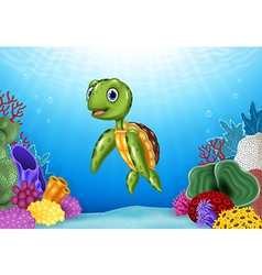 Cute Turtle with beautiful underwater world vector image