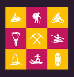 extreme outdoor activities icons set vector image vector image