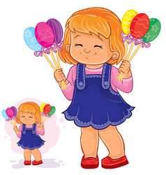 little girl holding in her hands decorative vector image vector image