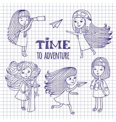 Set of cute girls women traveler vector image vector image