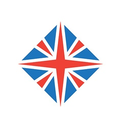 Stylized British flag icon or design element vector image vector image