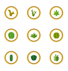 types of cactus icons set cartoon style vector image