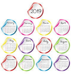 2019 calendar with round glossy stickers vector image