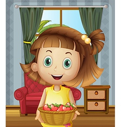 A girl inside the house holding basket vector