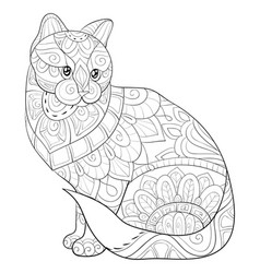 Adult coloring bookpage a cute cat with ornaments vector