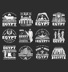 Ancient egypt icons travel landmarks and tourism vector