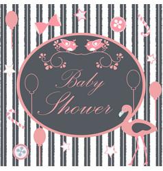 Baby shower card with flamingo birds balloons vector