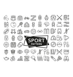 background made of line icons sport fitness and vector image