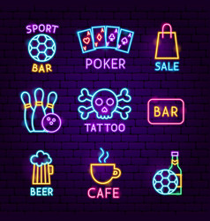 bar street neon label set vector image