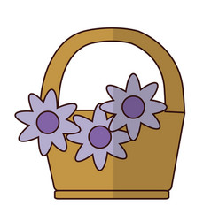 Basket with beautiful flowers vector