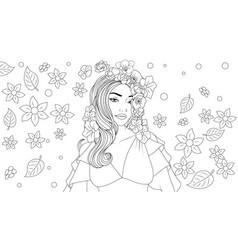 beautiful girl wears a flower vector image
