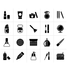 Black Make-up and cosmetics icons vector