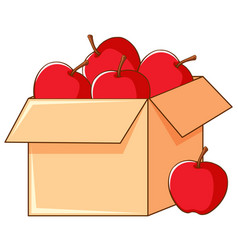 Box red apples on white background vector