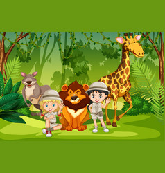Camping kids in forest vector