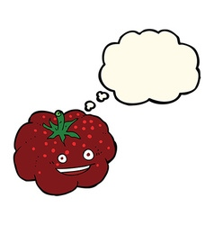 Cartoon happy tomato with thought bubble vector