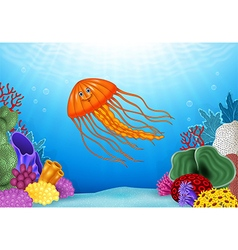 Cartoon jellyfish with beautiful underwater world vector