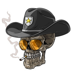 Cartoon sheriff skull with hat and cigarette vector