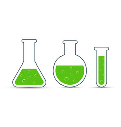 chemistry icon set of icon beaker vector image