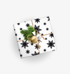 Christmas gift box top view realistic vector