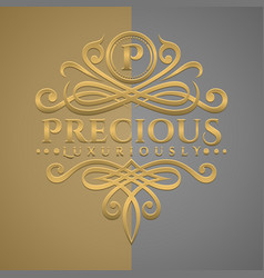 classic luxurious letter p logo with embossed vector image