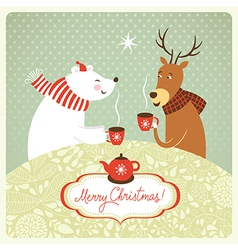 deer and bear drink hot tea vector image