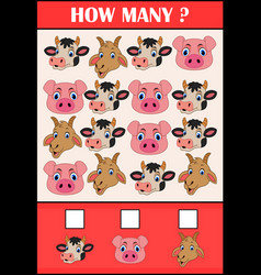 Education counting game of animals for preschool vector