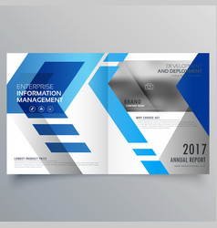 elegant blue bifold brochure design template or vector image