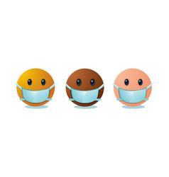 Emoji set with medical mask international people vector