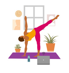female cartoon character practicing hatha yoga vector image